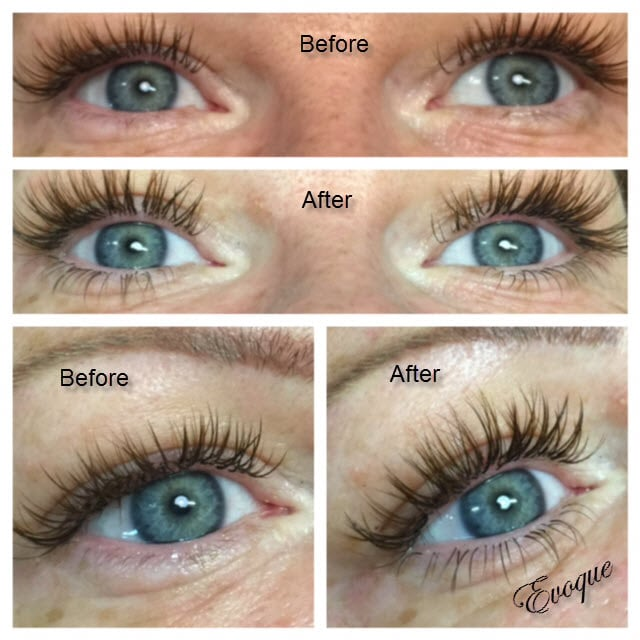 Before And After Photos Of Lash Extensions Placed On The Lower Lash