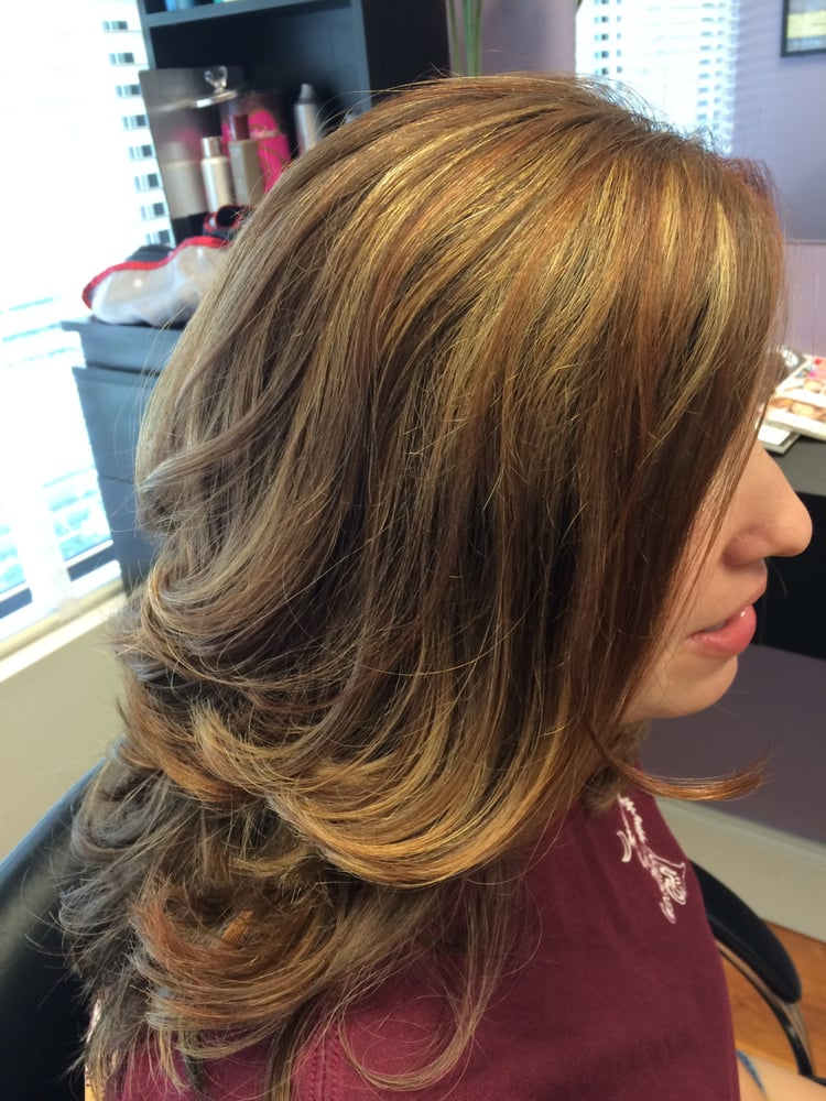 Cut, highlights and lowlights with caramel, auburn and ...