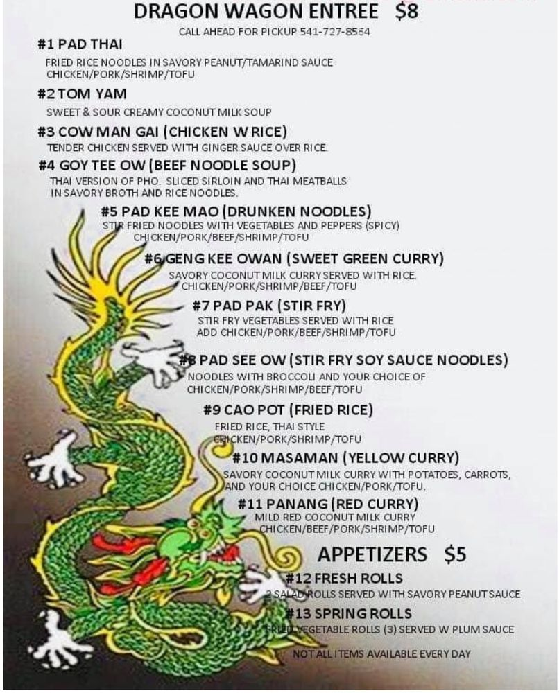 Dragon Wagon Thai Street Food: 444 SE Oak Ave, Roseburg, OR