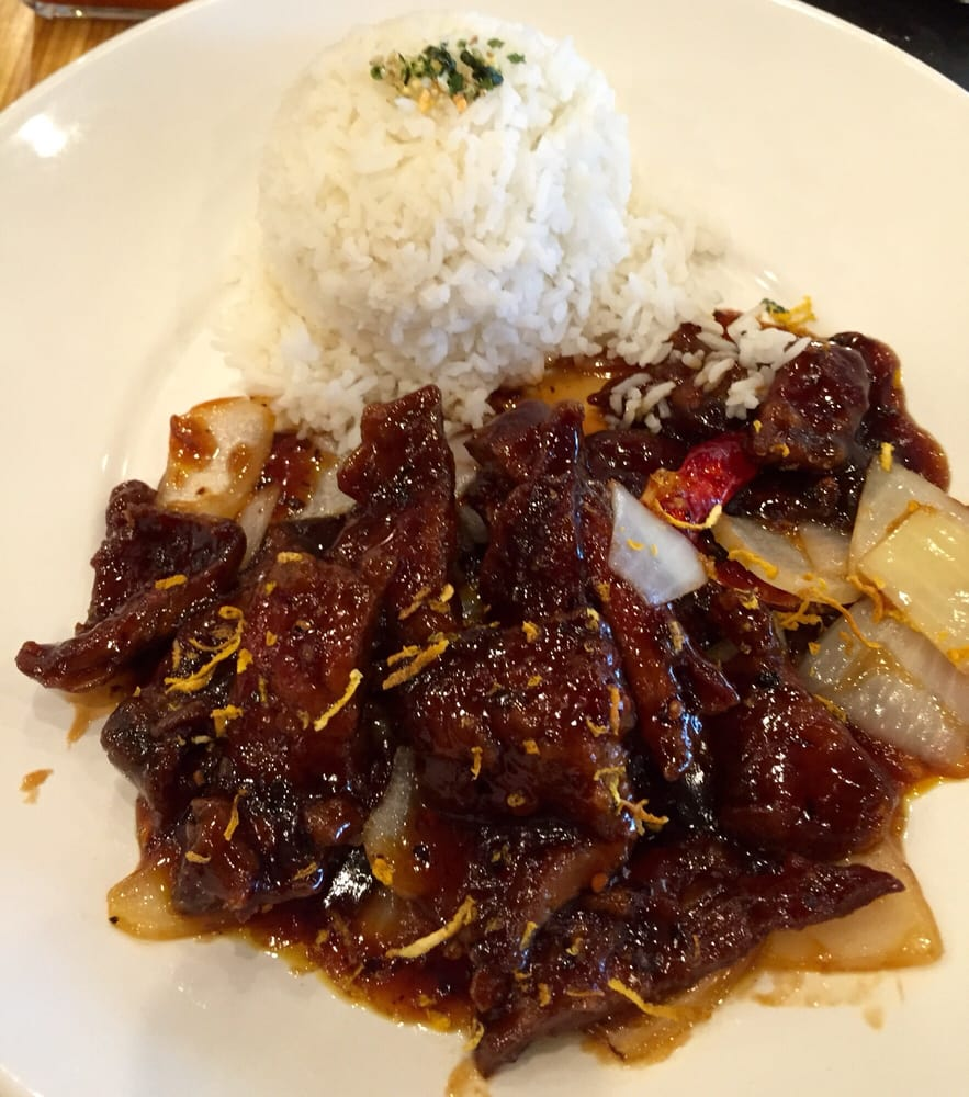Orange Beef With Steamed Rice Lunch Plate