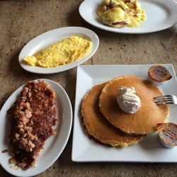 Photo of Pandora Diner - Mount Holly, NJ, United States. Short stack with corned beef hash and a side of 2 scrambled eggs