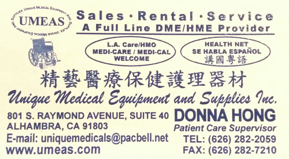 Unique Medical Equipment & Supplies - 801 S Raymond Ave