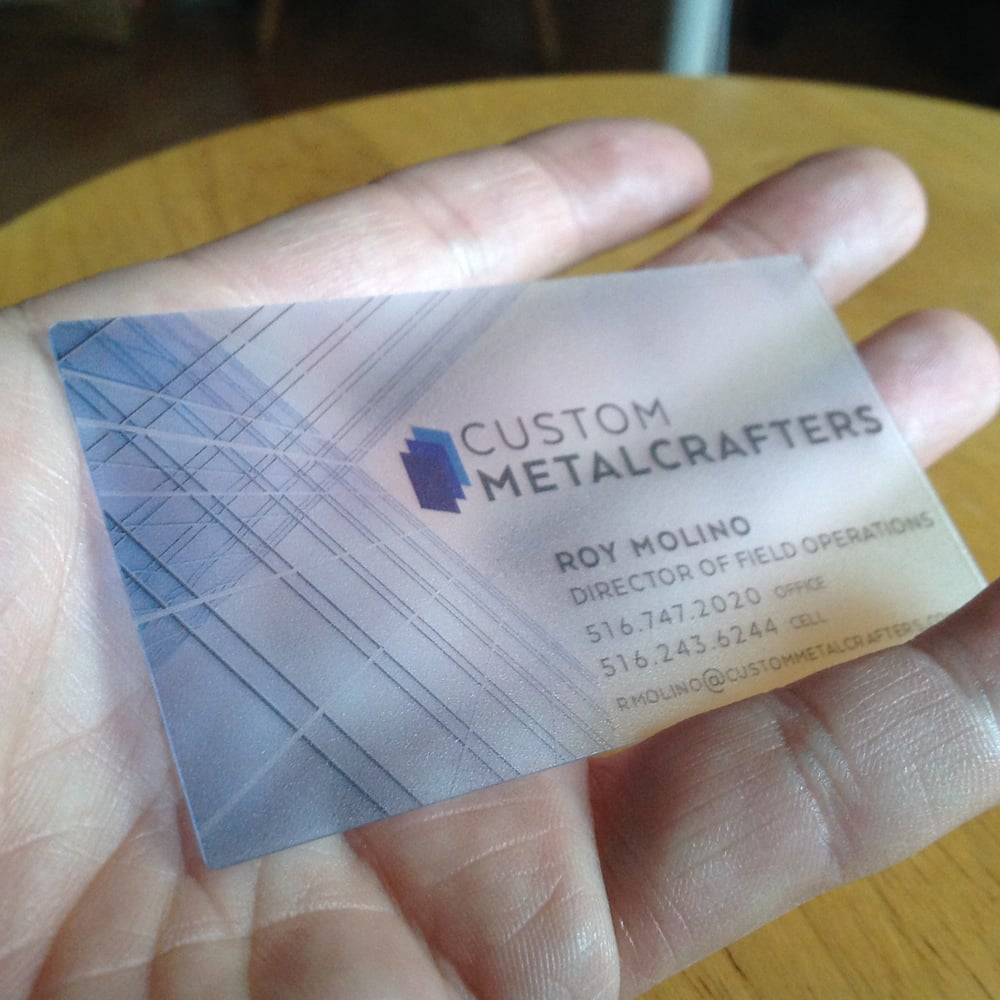 Custom Frosted Plastic Cards, printed at custom business card size ...