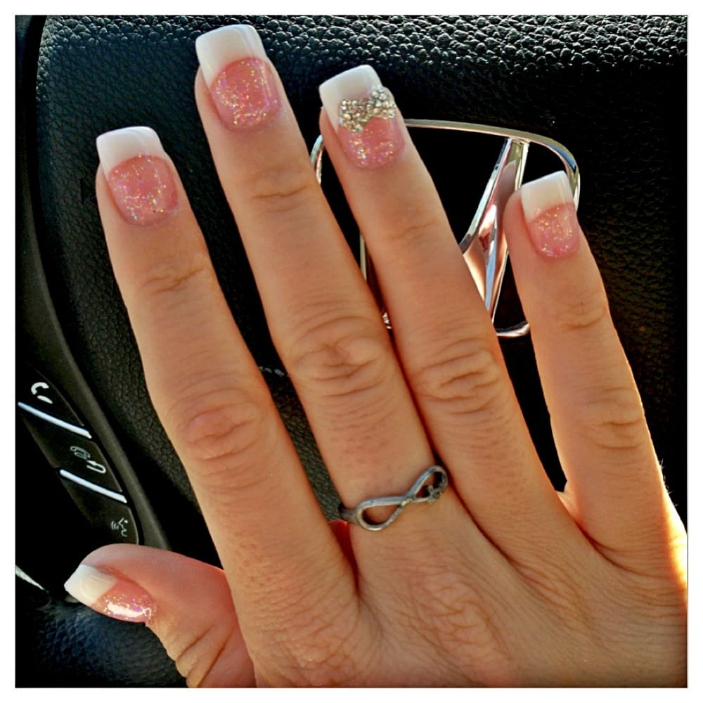New nails by Nikki!! Pink and white with diamond bow! - Yelp
