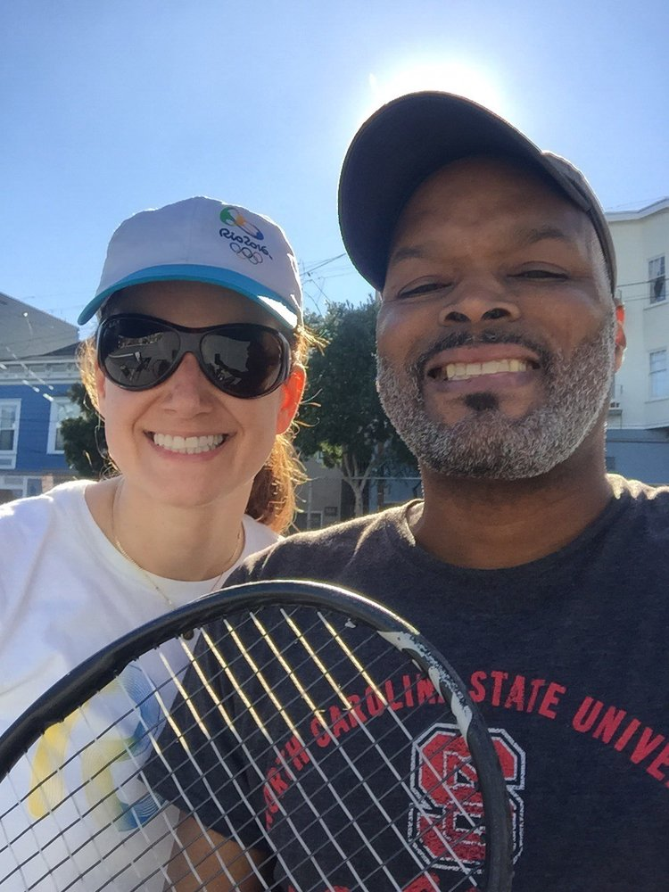 Photo of Tennis Lessons By Mcclain - San Francisco, CA, United States. Coach Mcclain and Georgia smile