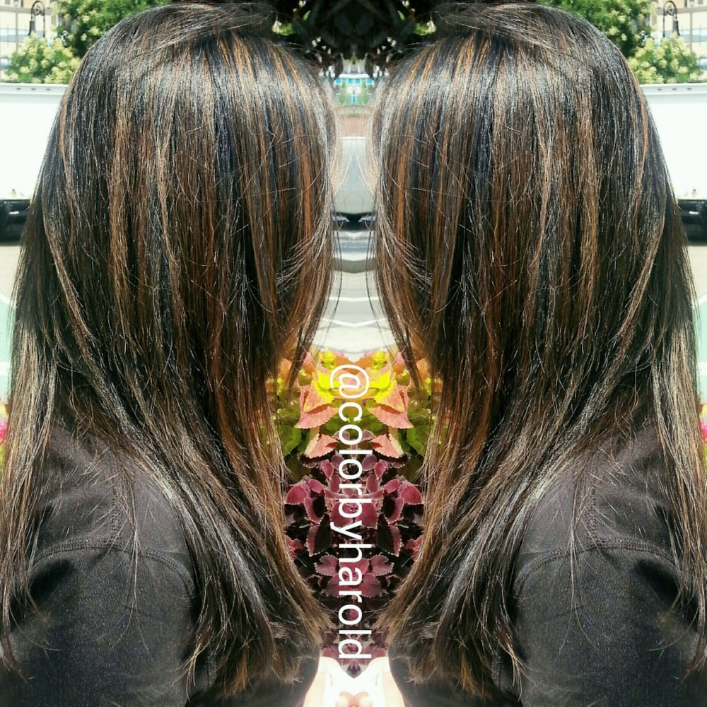 Traditional Caramel Highlight On Darkest Brown Asian Hair By Harold