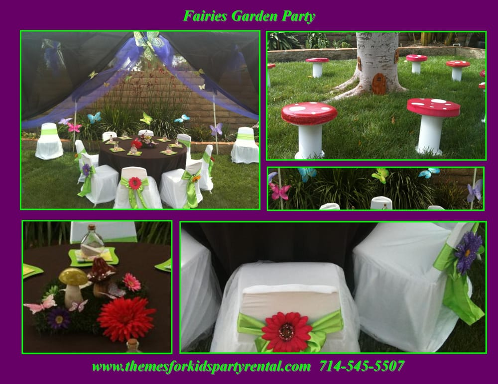garden fairy princess theme birthday party table set up