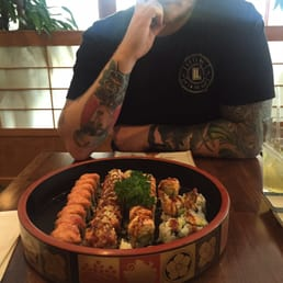 Momoyama Sushi House - Nanuet, NY, United States. Crazy Roll, Fire Dragon Roll, Lovers Roll and Shrimp Tempura Roll
