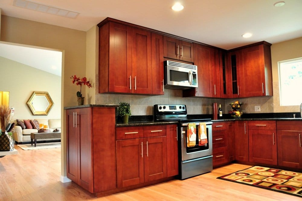 Cherry Shaker Cabinet Red Oak Hardwood Floor Black Galaxy Granite