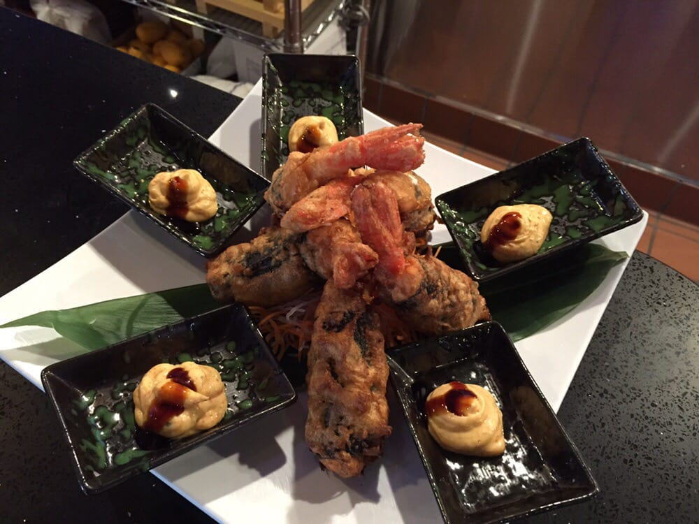 Sweet Shrimp With Spicy Tuna And Salmon Wrapped Then Fried Yelp