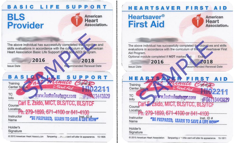Current Look Of The Bls Provider Card And Heartsaver First Aid Card