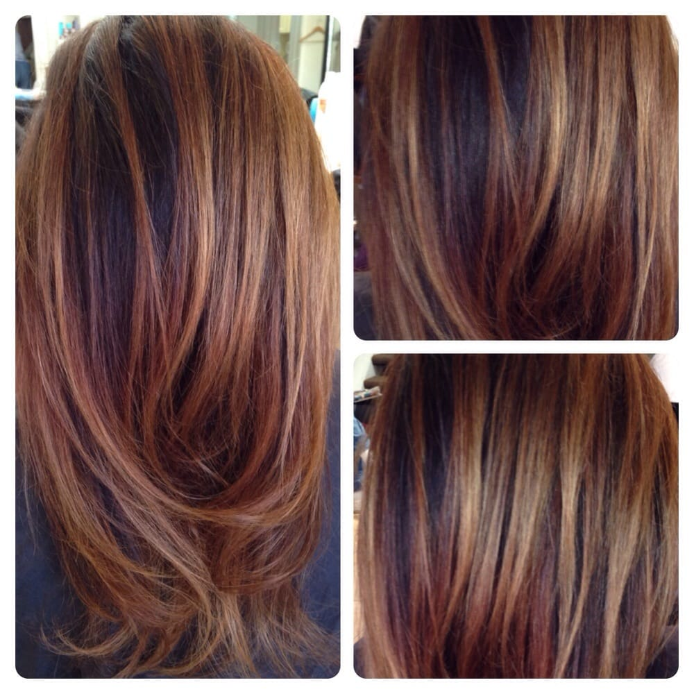 Balayage on dark hair... Love doing Carmel chestnut hi ...
