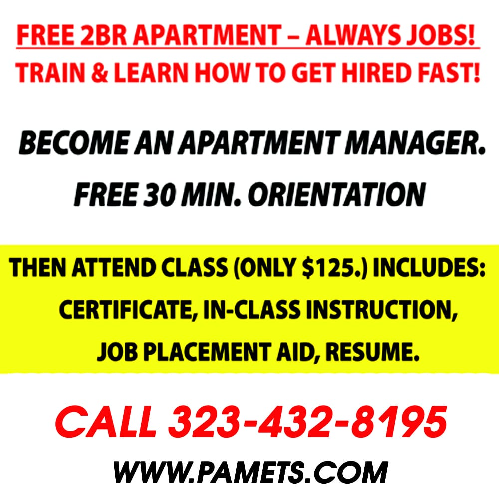 professional apartment manager employment training services specialty schools 11616 hawthorne blvd hawthorne ca phone number yelp - Apartment Manager Jobs