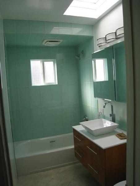 Large format glass tile shower enclosure and backsplash yelp for Large format glass tile