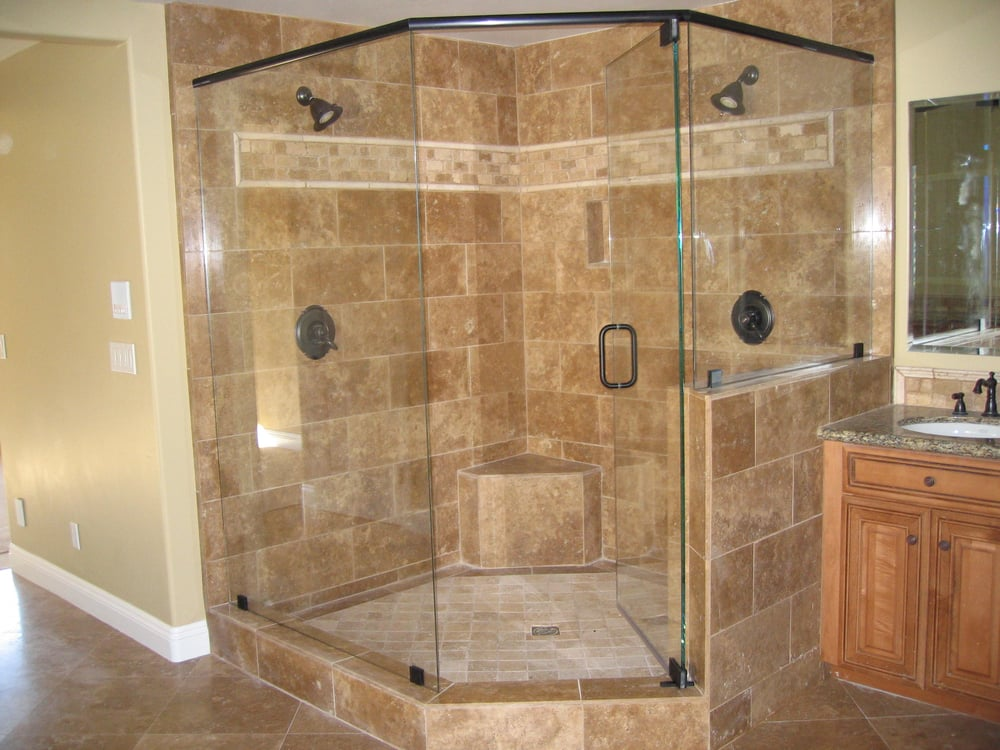 Frameless neo-angle shower with a header - Yelp