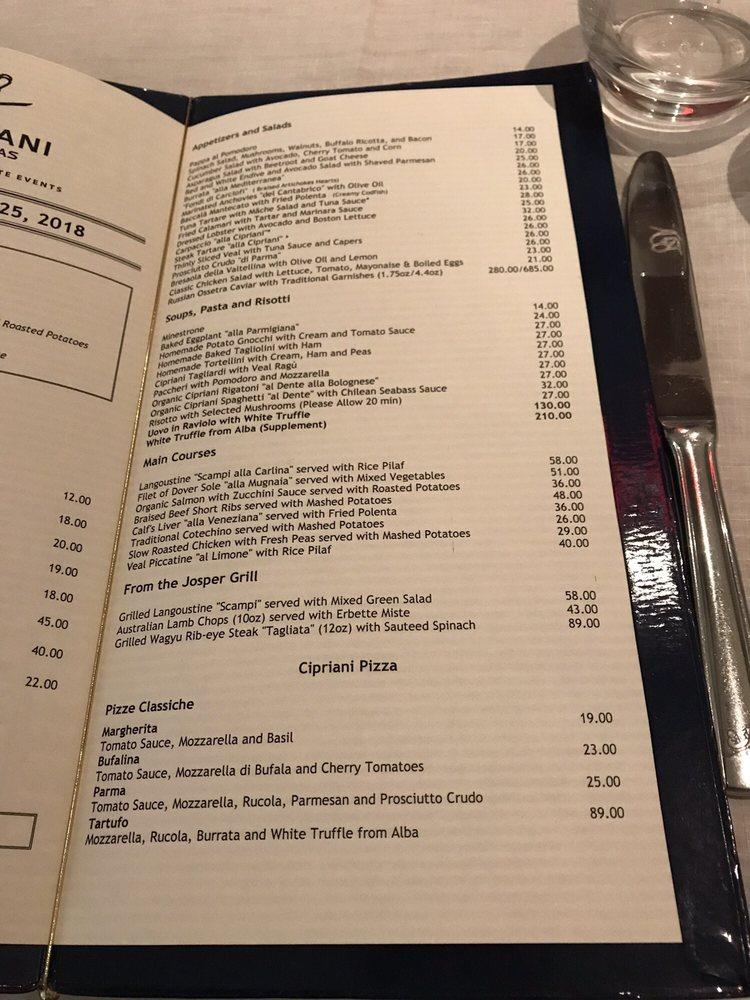 Menu Of Cipriani Las Vegas Restaurant