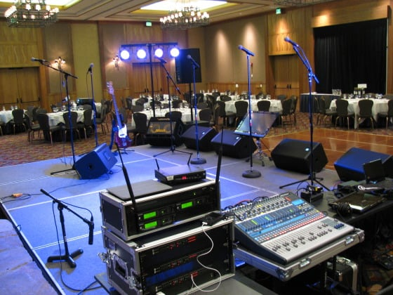 full sound setup for live bands including monitors wireless mics stands mixing board and on. Black Bedroom Furniture Sets. Home Design Ideas