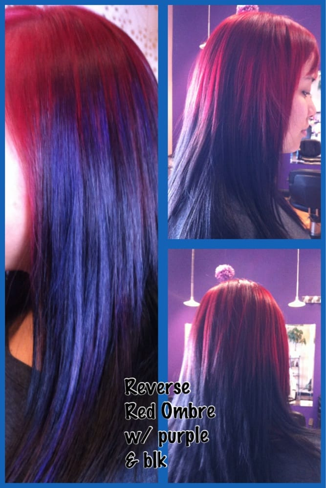 Reverse Ombre Black And Purple Hair