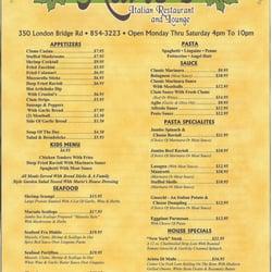 Mario S Italian Restaurant Lake Havasu City Az Menu