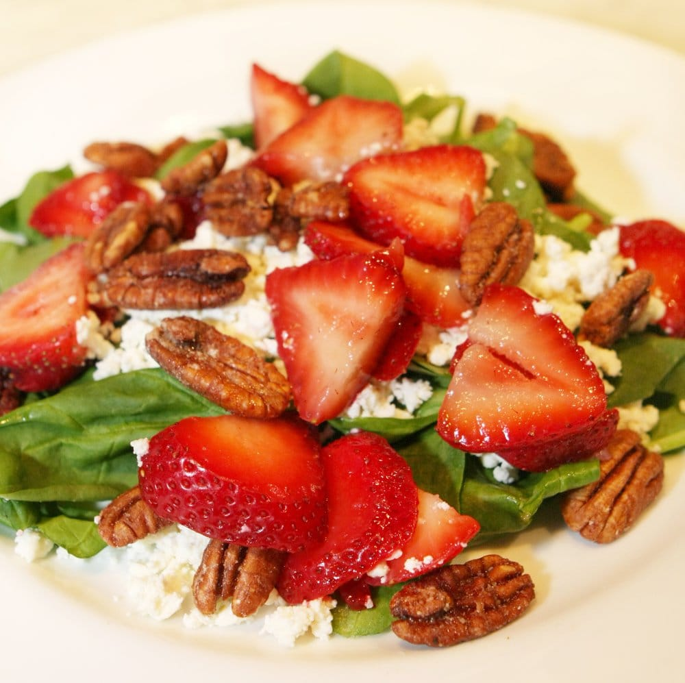 ... Strawberry spinach salad with candied pecans, feta cheese and poppy