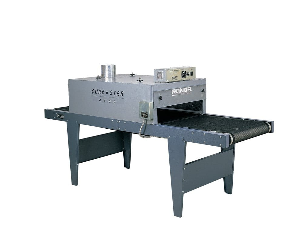 curestar 4000 screen printing conveyor dryer used to cure