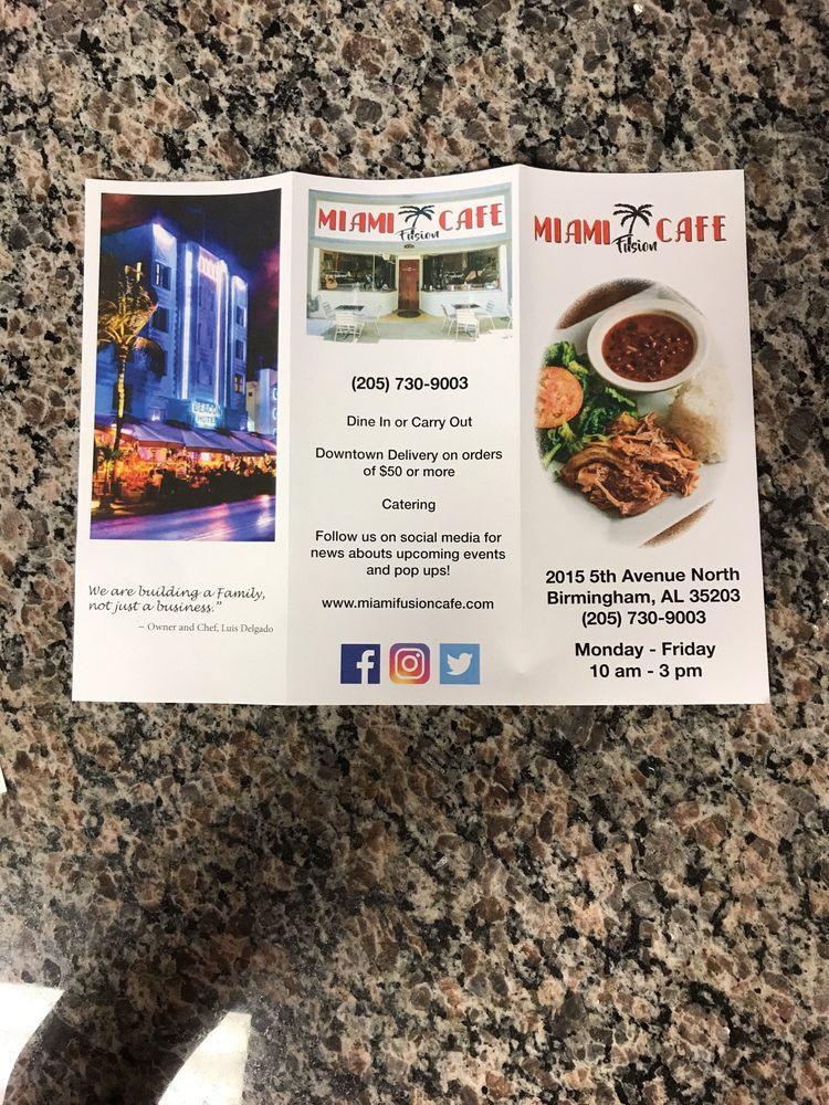 Miami Fusion Cafe Birmingham Al Menu