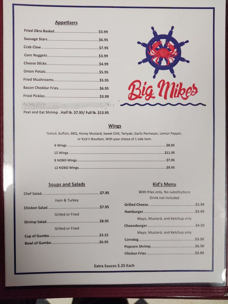 Big Mikes Seafood and More: 25 Park St, Headland, AL
