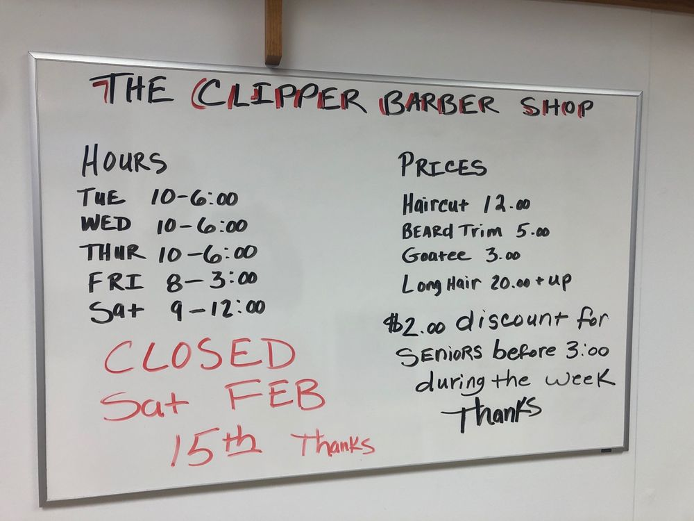 The Clipper Barber Shop: 210 N Main St, Luxemburg, WI
