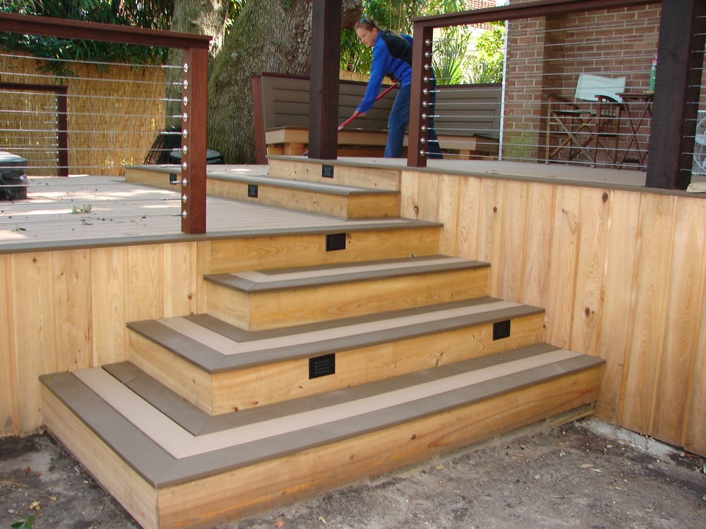 This three level deck has wide steps which lead you to any for How to build box steps for a deck