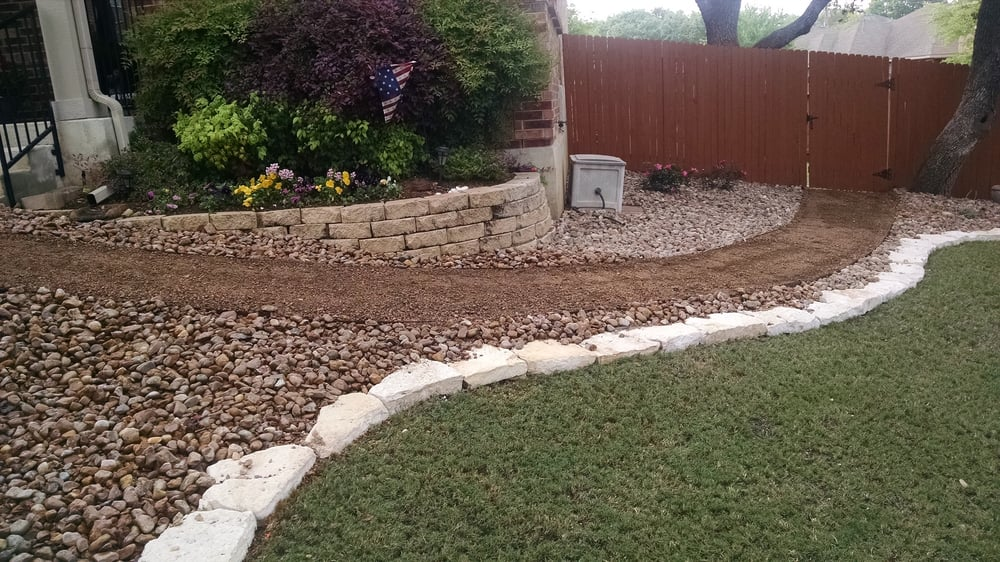 5 7 Vs 610 Limestone Stone : Limestone border with granite walk and river rock yelp