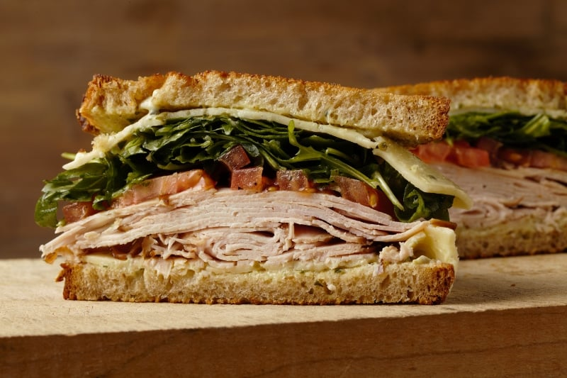 Turkey Sandwich House Smoked Toasted Whole Wheat Bread Served