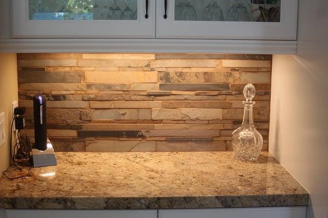 Granite Counters With Stacked Stone Backsplash Yelp