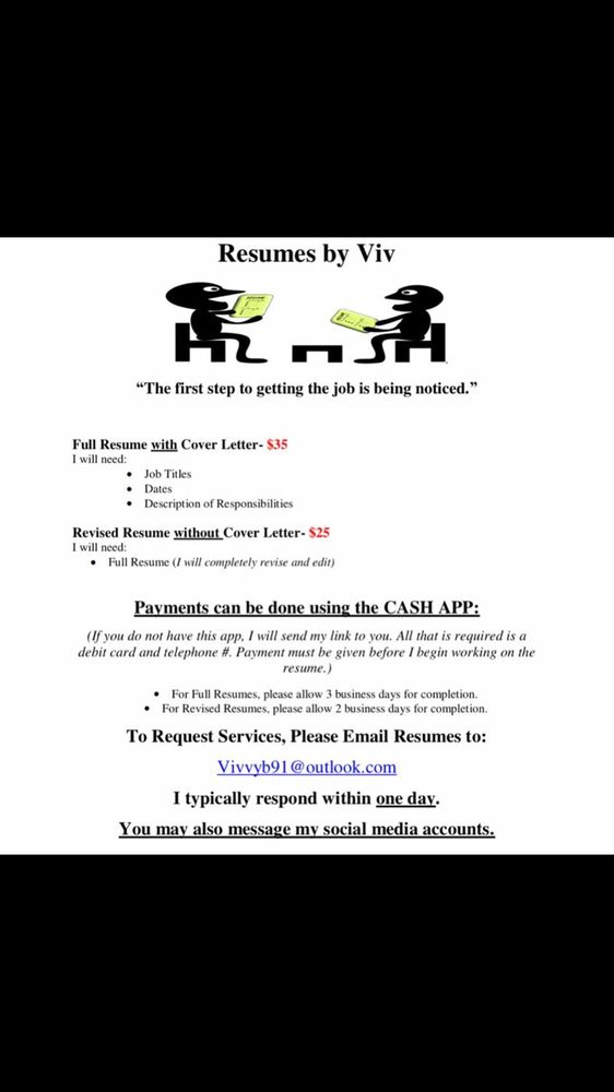 Resumes By Viv   Get Quote   Editorial Services   Cincinnati, OH   Phone  Number   Yelp  One Day Resume