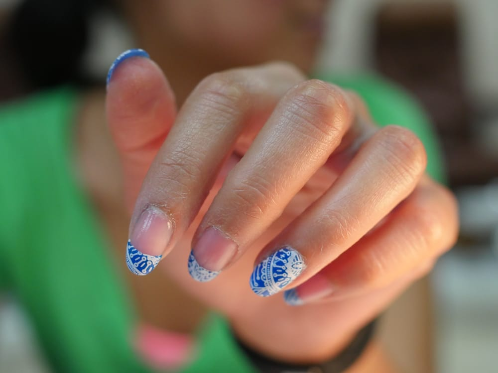 Blue french with white filigree - Design by Louis at Nail perfection ...