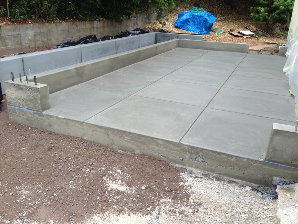 Smooth finish garage slab and footing yelp for Concrete slab plans