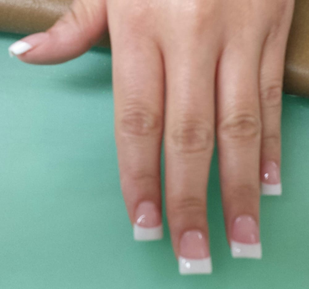 Square shaped, on the wider side, pink and white acrylic nails - Yelp