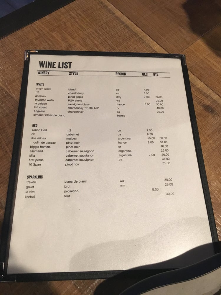Wine list yelp for Table 52 wine list