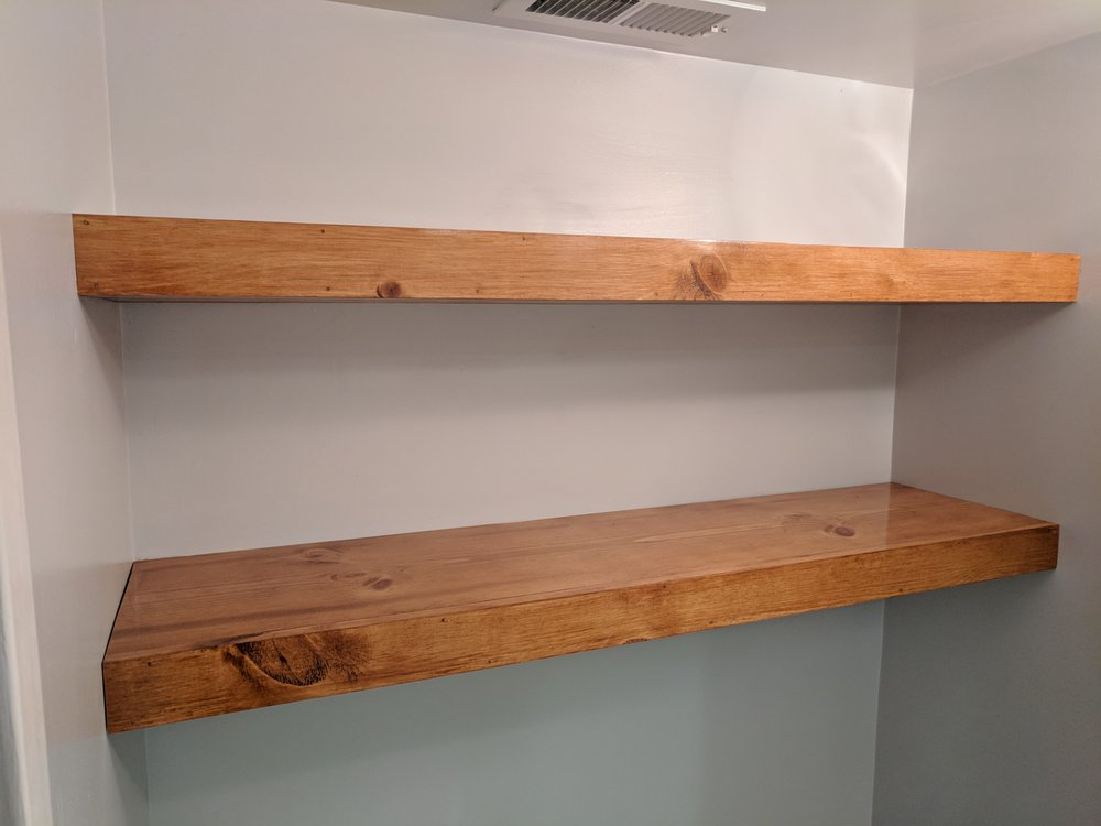 Floating shelves built to client's specifications  Cherry