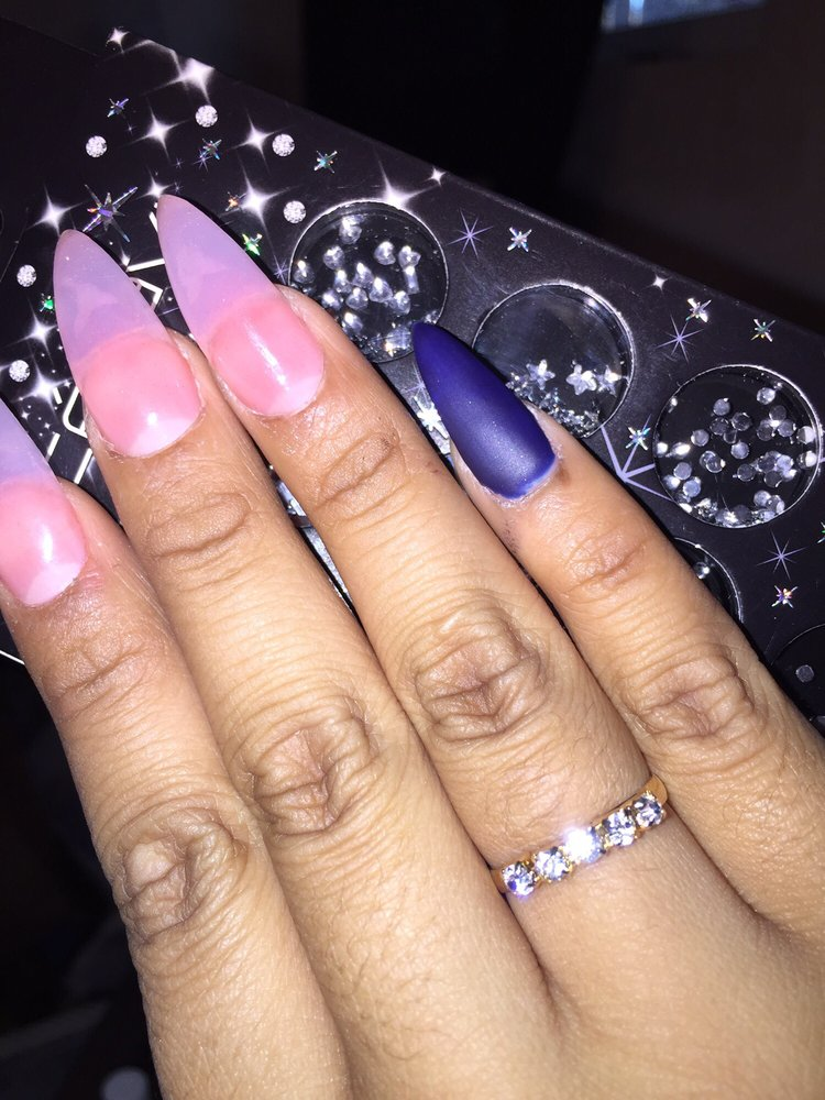 Asked for sharp nails and medium pink acrylic powder with a royalish ...