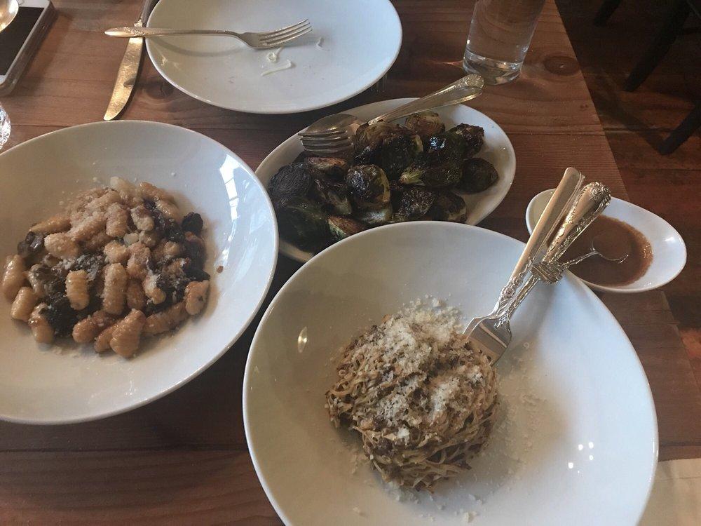 Left: Cavatelli al ragu di funghi Middle: Cavoletti di Bruxelles con ...
