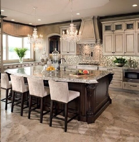 European white washed cabinets with Delicatus Granite