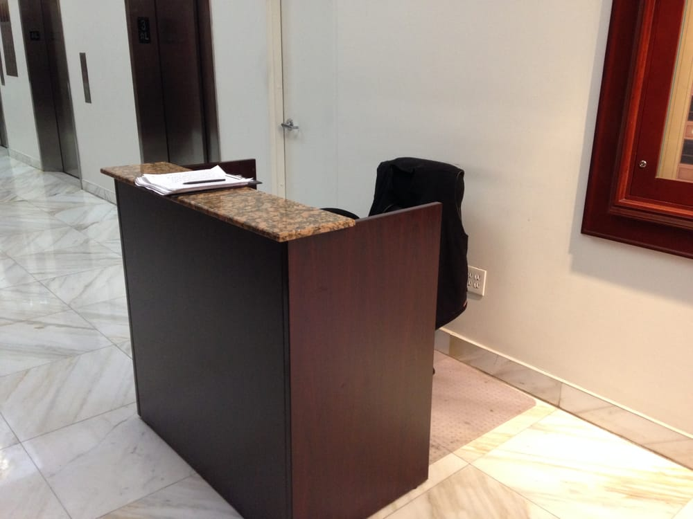 check out our mini reception desk it works great for