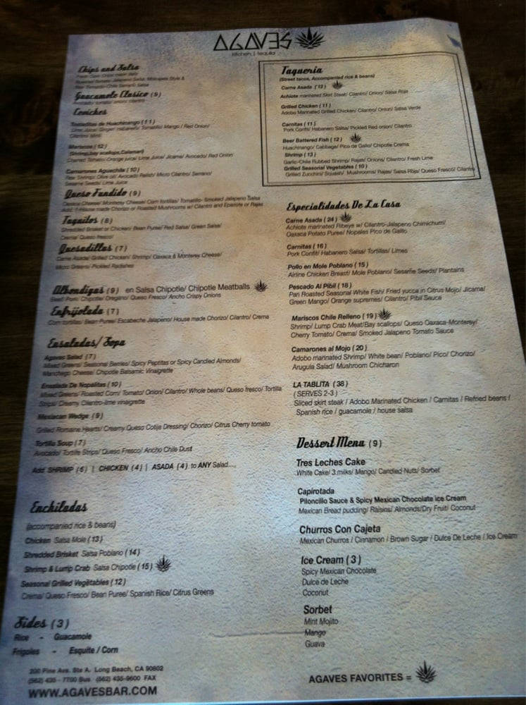 Agaves Kitchen And Tequila Long Beach Menu