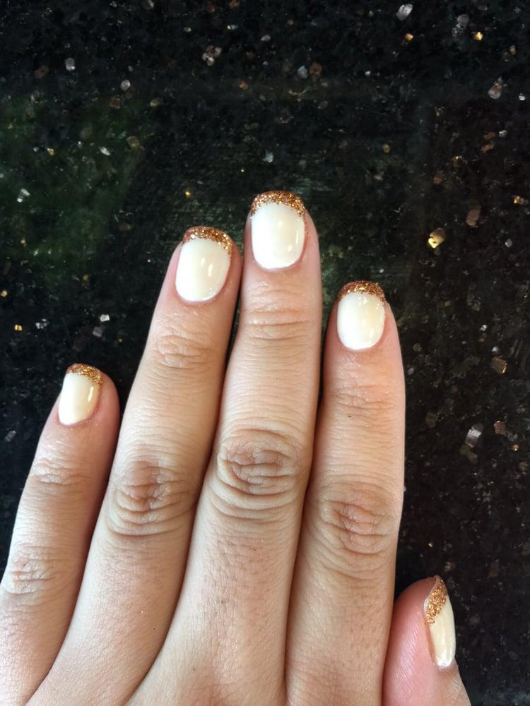 shellac rose gold glitter french   yelp