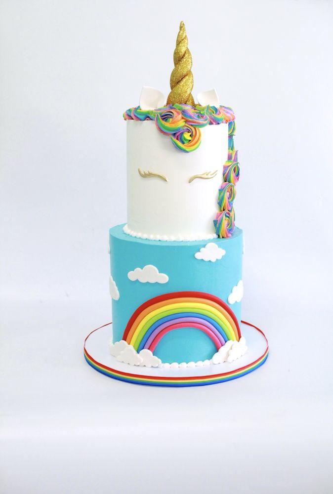 2 Tier Unicorn Rainbow Cake Design Yelp