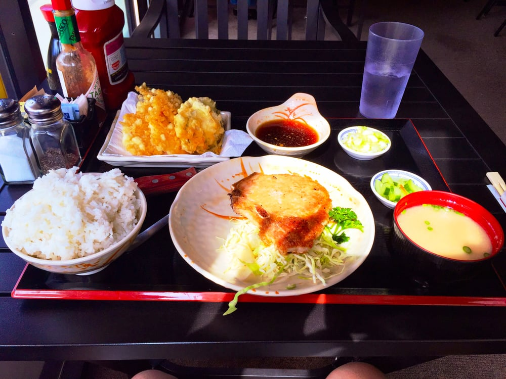Pork Chop Shrimp Tempura Miso Soup And Rice Good