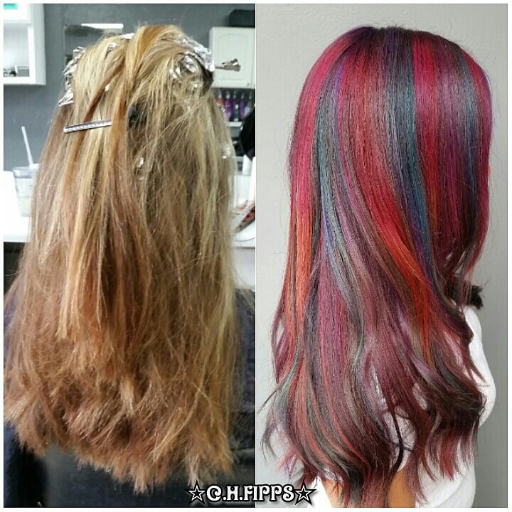 Deep Jewel Toned Color Melt Over Fully Highlighted Hair Yelp