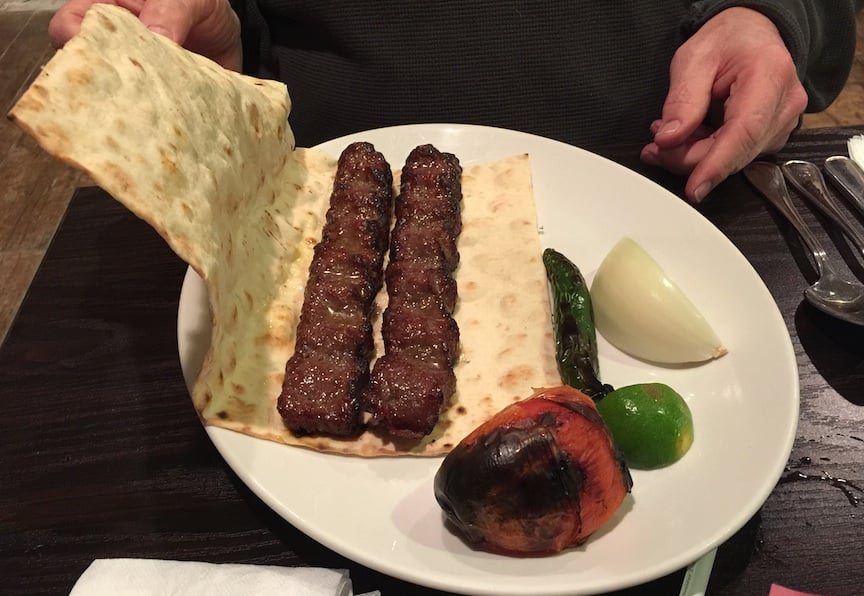 Beef koobideh with sangak bread a hot chili onion for Aria persian cuisine