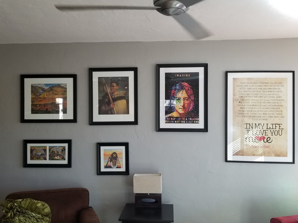 The gap on the wall is for another print Robert will be framing for ...