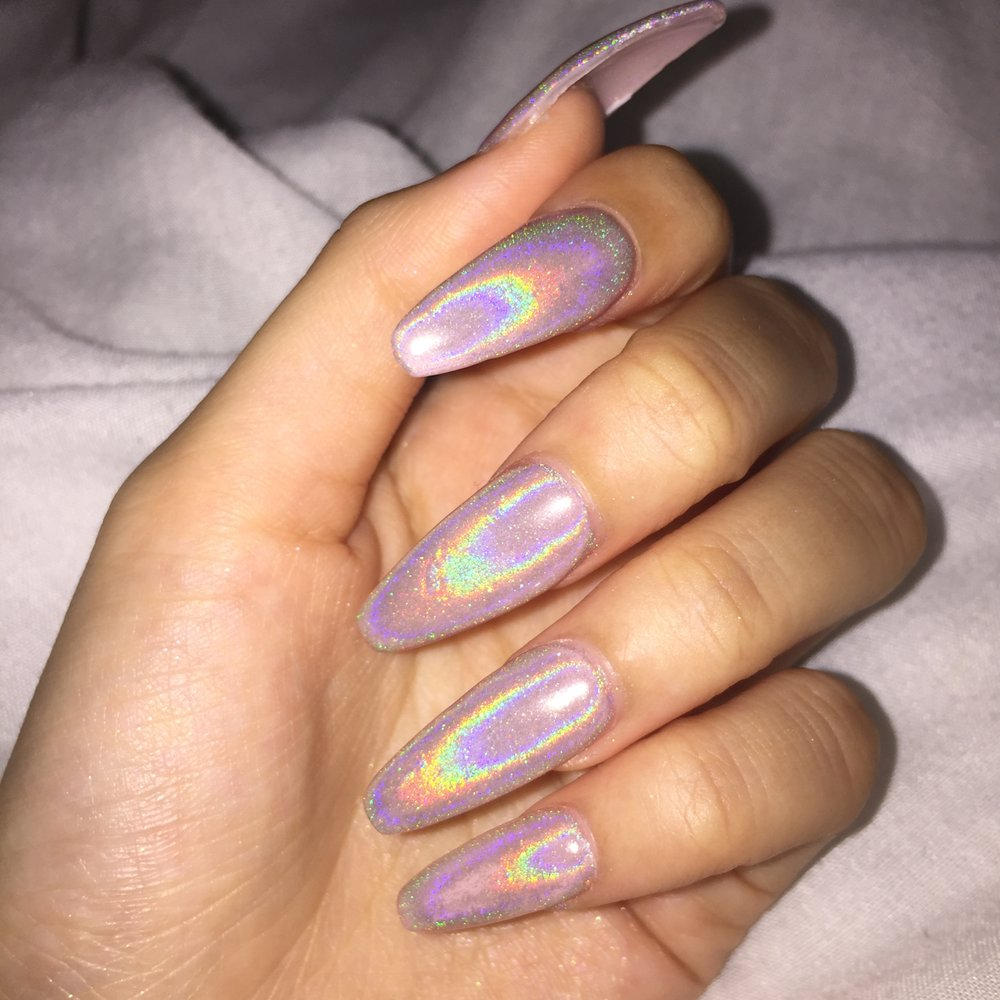 10/10/16) Holographic nails photographed with flash - Yelp